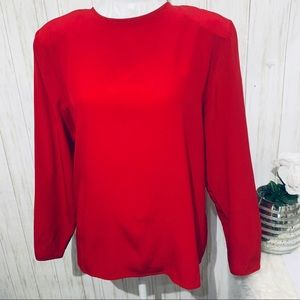 Talbots Crew Neck Red Silk Blouse Size 12